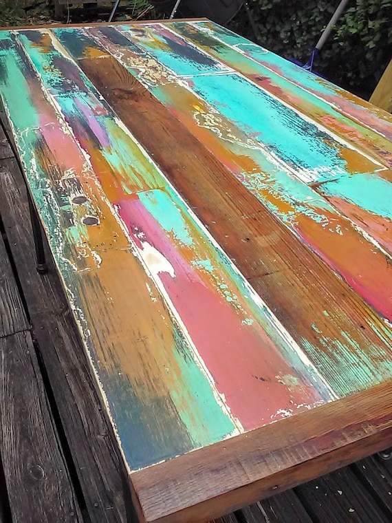 Painted Reclaimed Wood Dining Table Made From A Vintage Door