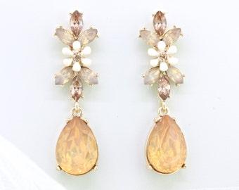 Bridal Blush Opal Earrings,Rose gold Opal Dangle Earrings,Peach Earrings,Bridesmaid Wedding Earrings Gift Jewelry,Rose Gold Earrings,Prom