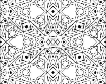 Kaleidoscope Adult Coloring Page - Calm Kaleidoscopes, Volume 1, Page 9 | Printable Instant Download