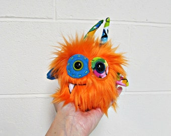 Monster Plush - Handmade Minor Monster Plushie - Orange Faux Fur - OOAK Mini Monster - Small Monster Plush - Small Weird Monster Plush Toy