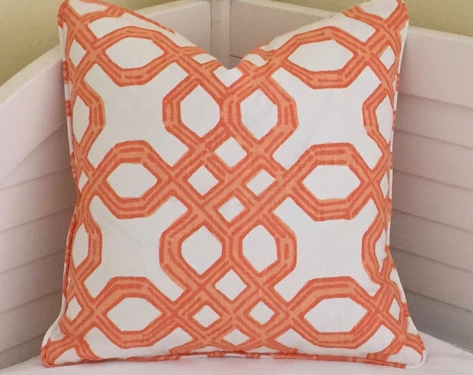 Lilly Pulitzer Well Connected in Clementine (on both sides) Designer Pillow Cover with or without Self Welting - Square and Euro Sham Sizes
