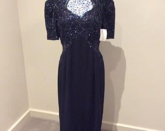 Vintage 1990's beaded blue evening dress by 'Macis', UK size 16