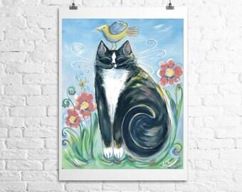 tuxedo cat- fine art print 12x18