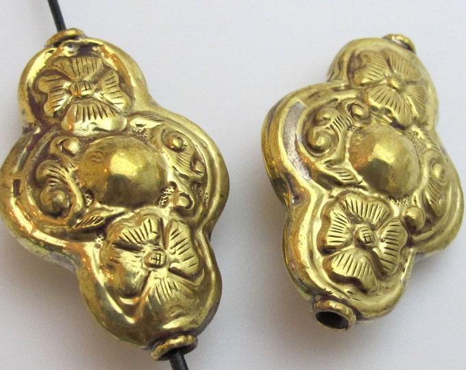 2 beads - Large Tibetan brass repousse Cross shape floral design focal pendant bead -   BD429