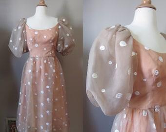 1970s Lillie Rubin nude organza polka dot dress • Coco Pêche