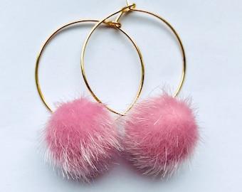 Baby pink pompom hoop earrings