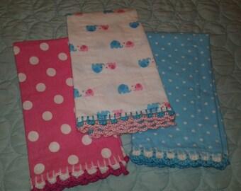 Set of 3 Burp Cloths - Pink, Blue and ELEPHANTS!!!