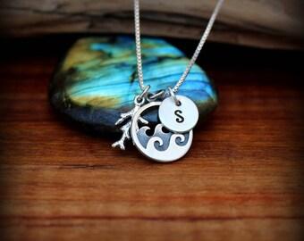 Ocean wave necklace, Coral reef necklace