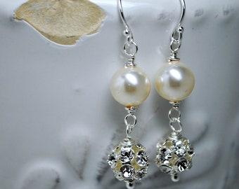 Ivory Pearl Bridal Earrings, Dangle Earrings, Rhinestone Wedding Earrings, Bridesmaids Earrings, Swarovski Ivory Pearls