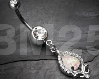 Elegant Flora Opal Sparkle Belly Button Ring