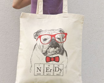 English bulldog nerdy tote bag-funny dog tote bag-bulldog tote bag-school bag-tote-funny bag-nerdy tote bag-quote tote-NATURA PICTA NPTB029