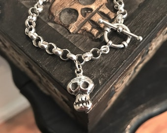 Women's Skull Bracelet Sterling Silver With Toggle Catch Skeleton Head Charm Dangle Rolo Chain Bracelet Artist Made One Of A Kind Skully