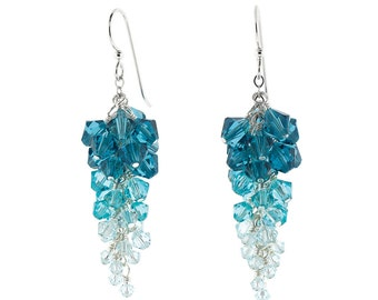 Blue Swarovski Crystal Ombré Cluster Earrings