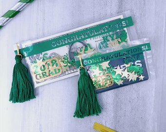 2018 Graduation Gift Card Envelope, Green and Gold, Money Holder, Graduation Card, Class of 2018, College Graduation, Graduation Gift