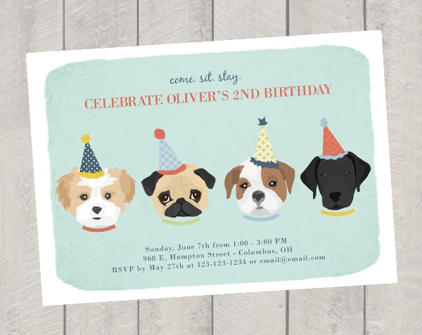 Top Dog Theme Birthday Invitation Childrens Invite OW34