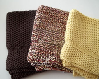 Dishcloths Knit in Cotton, in Daffodil and Brown, Dish Cloth, Wash Cloth, Kitchen, Dishcloth