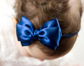 Baby Midnight Blue Emma Bow Clip OR Headband - Flower Girl - Baby Satin Bow - Girls Satin Bow - Bun Hair Bow - Baby to Adult Headband