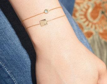 Birthstone Bracelet / Sterling Silver Yellow Gold Birthstone Bracelet / Birthstone Bracelet / Personalized Bracelet / Personalized Gift