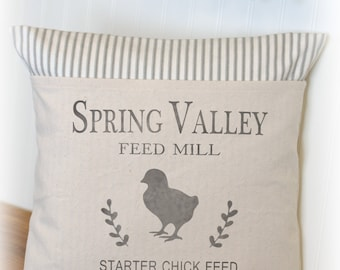 Spring Pillow, Chicken Pillow, Chick, Chicken Feedsack, Pillow Cover, Ticking
