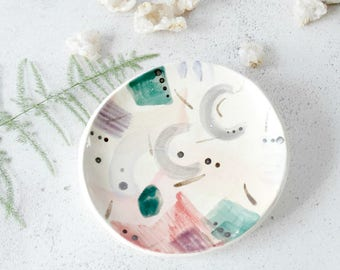 Watercolor Trinket Dish, Modern Ring Dish, Gifts for Women, Abstract Watercolor, Pretty Ring Dish, Modern Ceramics, Colourful Ceramic Dish