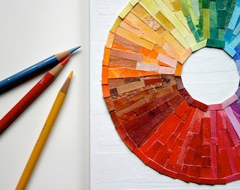 Rainbow Circle Collage- 8x10- Made To Order- Wood Block- Original Colorful Abstract - Multi Color Spectrum- Paper Art