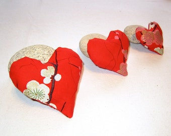 Set  of three Lavender Heart Sachets in Red