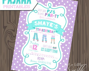 Pajama Party Invite, PJ party invitations, Printable PJ invitation