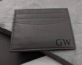 Personalised Leather Card Holder, Custom Leather Card Case, Bespoke Leather Card Case, Groomsmen Card Case, Monogrammed Card Case