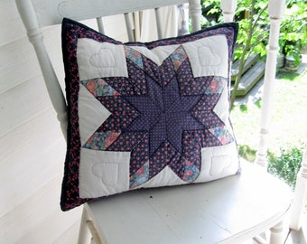 Quilted Decorative Pillowcase, Quilted Star Pattern, Hearts, Navy Blue, Mini Print, Shabby Cottage, by mailordervintage on etsy