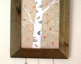 Falling Leaves-- Original Paper and fabric collage wall deoration
