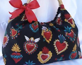 Corazones hearts milagros handbag with bamboo handles