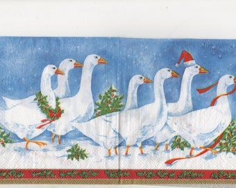 3278 lot 2 geese in the snow Christmas paper napkins
