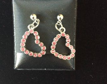 Open Heart Earrings with red stones