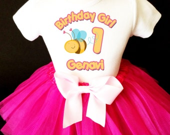 Bizzy Buzzy Bumble Bee Pink 1st First Girl Birthday Baby Tutu Outfit Custom Personalized Name Age Party Shirt Set