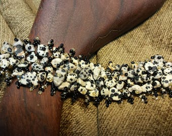 Sale #EarthDay ~ Beaded Stone Chip Bracelet - Dalmatian Jasper