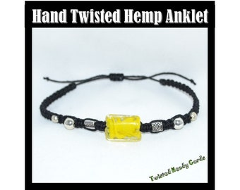 Black Hemp Anklet Hand Twisted with Yellow Glass Bead