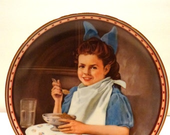 Norman Rockwell plate-Good Intentions-Girl Eating Breakfast