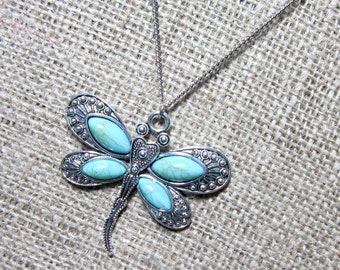 Dragonfly Silver Necklace ~ Imitation Turquoise Pendant on Stainless Steel Chain Jewellery Jewelry