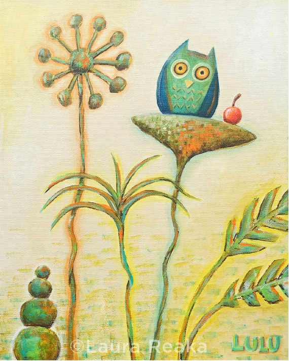 Owl and Fruit (8x10 Art Print)