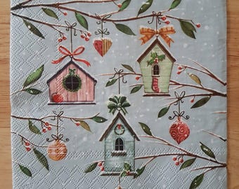 Set of 4 Let It Snow Square Paper Lunch Napkins Decoupage Crafts Collage Scrapbooking #142