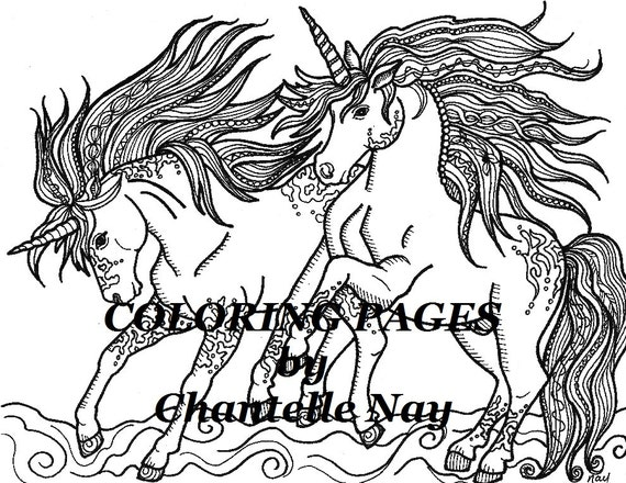 Unicornios colorear página imagen para colorear adultos