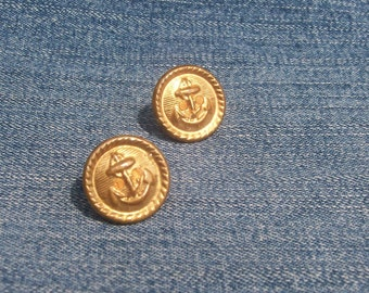 ANCHORS AWEIGH  - Vintage Brass Button Earrings -Repurposed