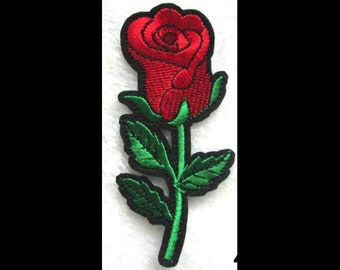 Red Rose Flower Embroidered Floral Iron On Patch Applique RR32118