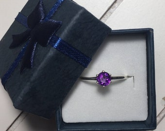 Genuine African Amethyst. 925 Sterling Silver Ring, Size 7.