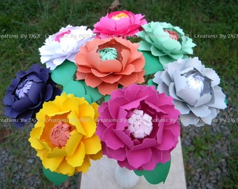 Paper Flowers - Stemmed Peonies - Mix Colors - 12 pcs - Made to Order - For Weddings, Parties, Showers, Centerpiece, Anniversaries