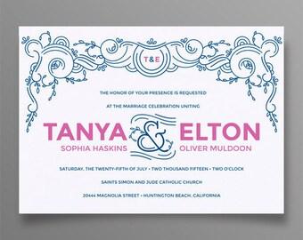 Modern Memphis Wedding Invitation Suite