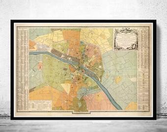 Map Of Paris Etsy - Large map of paris france