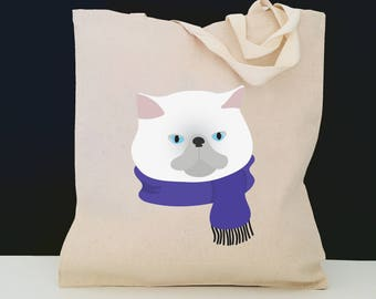 Personalized Persian Cat Tote Bag (FREE SHIPPING), 100% Cotton Canvas Cat Tote Bag, Persian Cat Tote Bag, Cat Totes, Cat Gift, Persian Cat