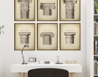 ARCHITECTURE Print SET of 6 Art Pritns, Elegant Architecture Chapitel Posters, Classical Architectural Drawing, Antique Architecture Poster