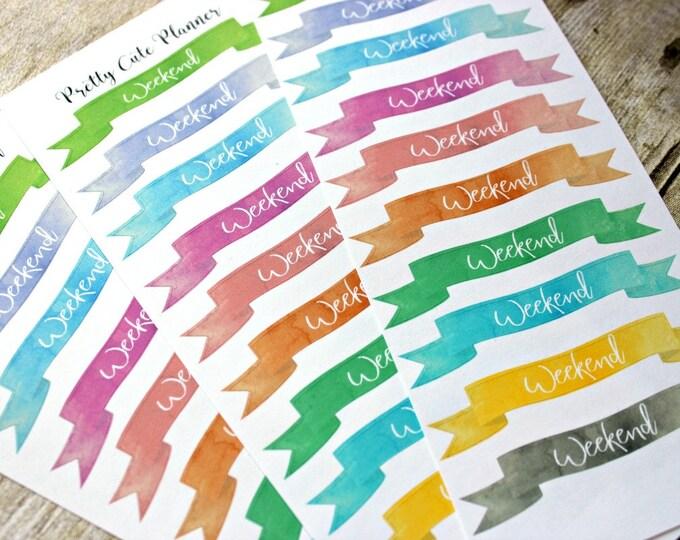 Weekend Banner Planner Stickers - Reminder Stickers - Planner Stickers - Watercolor Weekend Banners - Functional Stickers